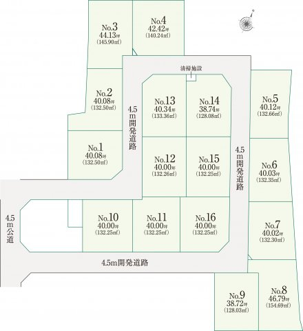 seisaino niwa (生彩の庭) 全16区画 建築条件付き売地 11号区画