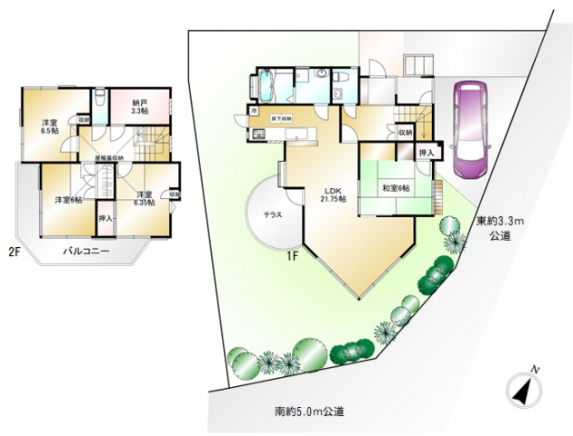 4SLDK+屋根裏収納 こだわりの注文建築 全室6帖以上 植栽豊かなテラス付きのお庭 現空に付きゆっくりご内覧できます