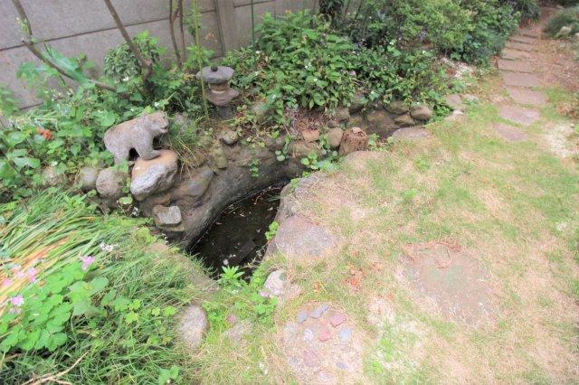 お庭には趣のある小さな池があります
