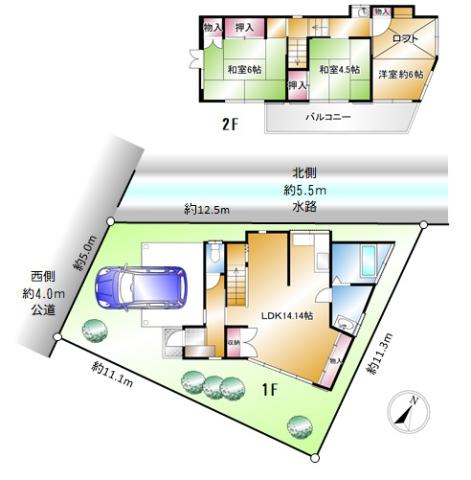 北西角地・陽当り・通風良好です。敷地面積101.91㎡約30.82坪・建物面積:77.43㎡約23.42坪 ロフト付の3LDK。室内はリビング階段・ロフト部分等とても個性豊かな造りとなっております。